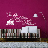 Wall Decals Quotes Vinyl Sticker Decal Art Home Decor Buddha Quote Wall Decal Sign Words Namaste Yoga Mandala Peace Comes From Within AN367