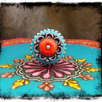 Tribal FLOWER RING Southwestern ring TURQUOISE ring Native ring silver Orange Ring Adjustable ring Cowgirl ring statement ring