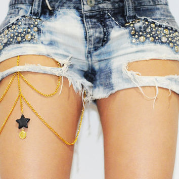 Star Thigh Chain Leg Chain Gold Body Chain by zhovak on Etsy