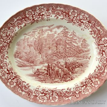 Red Tab Handled Transferware Platter with Cattle / Steer / Cows Crossing Woodland Stream