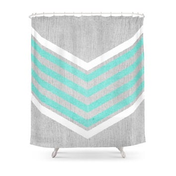 Society6 Teal And White Chevron On Silver Grey Wood Shower Curtains