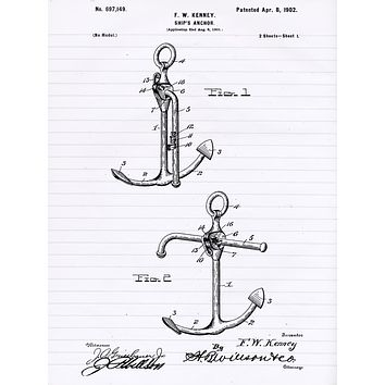 Boat Anchor Patent Poster - Patent Art - Patent Print - Patent Poster - Office Art