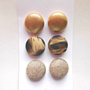 Set of 3 Gold Stud Earrings Post Fabric Button Earring Studs Stocking Stuffer Gold Jewelry