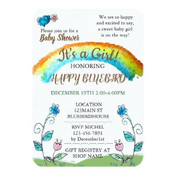 Happy Blue Bird Baby Shower Card