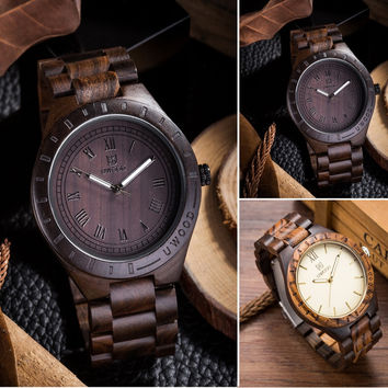 Handmade Men's Wooden Watch 100% Natural Maple and Ebony Wood wrist watch Men 2016 Newest japanese miyota movement Role Relogio