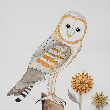 Free Ship Hand painted barn owl Watercolor gallery painting original, features vintage jewelry accents, gray and gold matted painting