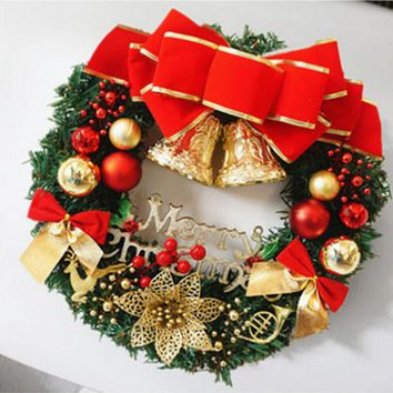 Europe style 30cm Christmas Large Wreath Decoration Door Wall Ornament Garland Decoration Red Bowknot Bells Xmas Christmas Gift