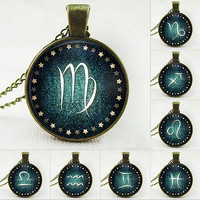 12 Constellations Pattern Fashion Women Necklace Glass Jewelry Chain Decor 3C