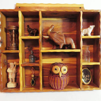 Handmade Vintage Shelf, Wood Curio Display, Wall Hanging, Miniatures Storage, Gem Display, Woodwork