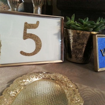 Vintage Gold Glitter Table Numbers: Gatsby Wedding, Sequin, Romantic, Stars, Hollywood, Silver, Crystal