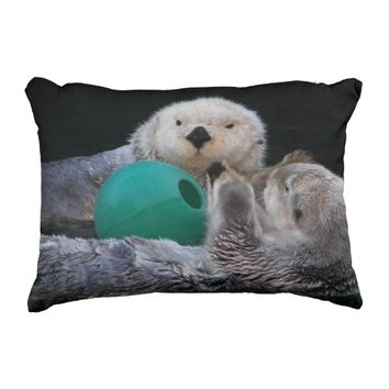 Playful Sea Otters Accent Pillow
