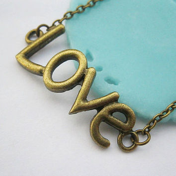 necklace  antique bronze love pendantalloy by laceinspring on Etsy