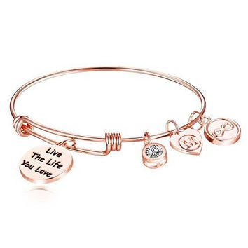 Graduation Gift 2018 Inspirational Charm Bangle Bracelet Engraved quotLive The Life You Lovequot Motto Womens Jewelry Girls Gifts
