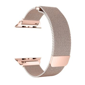 BRG for Apple Watch Band 38mm 42mm, Stainless Steel Mesh Milanese Loop with Adjustable Magnetic Closure Replacement iWatch Band for Apple Watch Series 3 2 1 (go 3, 42mm)