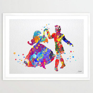 The Little Mermaid Ariel and Eric Dance Watercolor Art Print,Wall Art Poster,Kids Room Decor,Wall Hanging,Birthday/Wedding Gift,No 22