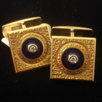 Vintage 18k Yellow Gold Cufflinks set with Diamonds and Blue Enamel - Gift for Him - Wedding - Anniversary - Valentine's Day