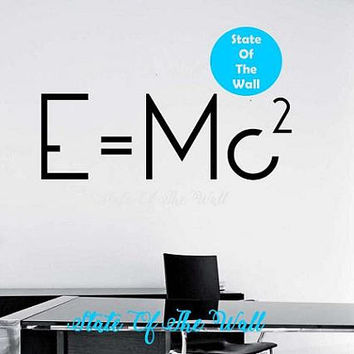 E=mc2 Science Wall Decal In Science we Trust Vinyl Sticker Art Decor Bedroom Design Mural Science Geek nerd educational