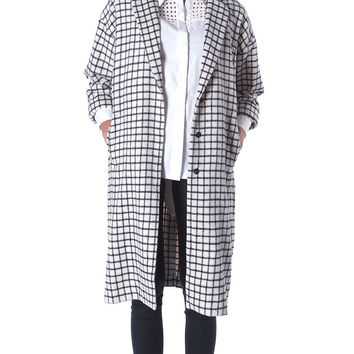 Necessary Object Plaid Coat - White/Black