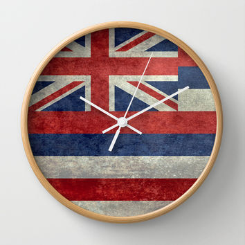 The State flag of Hawaii - Vintage version Wall Clock by Bruce Stanfield