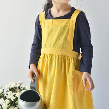 Karuilu Adjustable Soft Cotton Linen Pinafore Apron for Kids, Japanese-Inspired Style, Bright Yellow