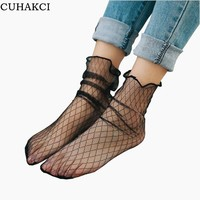 CUHAKCI 2017 New Sexy Lace Mesh Fishnet Socks Mixed Fiber Transparent Stretch Elasticity Ankle Net Yarn Thin Women Cool Socks