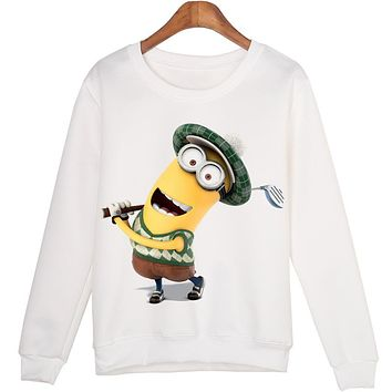 2016 Winter Sweatshirt Casual Minion Print Cartoon Crewneck 3D White Sweatshirt Women Hoodies O-neck Printed Pullover Woman
