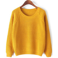 SheIn(sheinside) Yellow Round Neck Long Sleeve Chunky Sweater