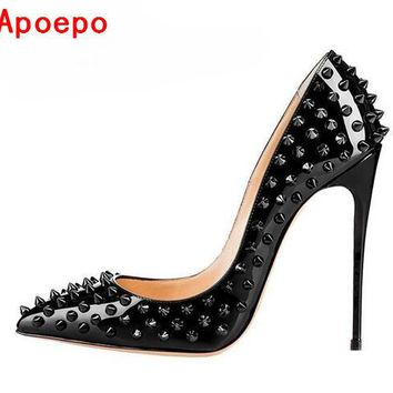 Sexy Pointed-toe Rivets Stiletto Heels Pump Black Patent Leather 12CM Women Shoes Luxury Heels Spikes Wedding Bridal Shoes
