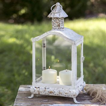 Farmhouse Country Distressed White Cupola Candle Lantern Rustic Primitive
