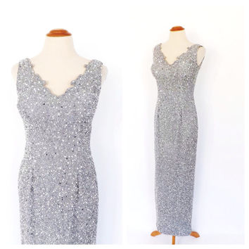 Vintage 90s does 1920s Gown Gray Silver Beaded Art Deco Dress Old Hollywood Silk Gown Vegas Wedding Gown Great Gatsby Dress 1930s Bridal
