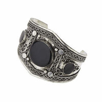 Antique Enamel Etched Cuff - Black