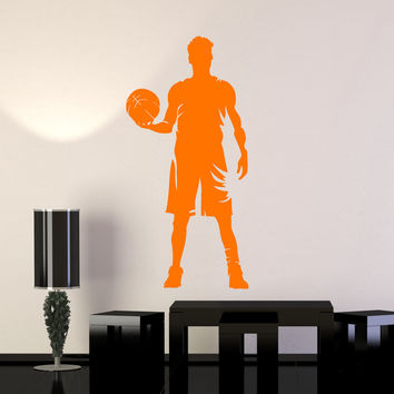 Vinyl Wall Decal Basketball Player Silhouette Sports Art Boy Room Stickers Mural Unique Gift (ig4956)