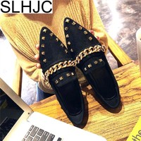 SLHJC 2018 Spring Summer Rivet Flats Shoes Women Fashion Metal Chain With Bees Flat Heel Casual Loafers Sexy Pointed Toe