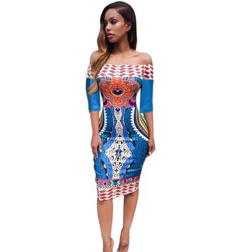 Feitong Women Sexy Club Party Dress Traditional African Print Dashiki Off The Shoulder Bodycon Long Maxi vestidos feminino