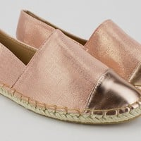 Canvas Jute Detail Capped Flats