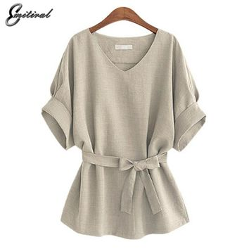 2017 Summer 5XL Plus Size Women Shirts Linen Tunic Shirt V Neck Big Bow Batwing Tie Loose Ladies Blouse Female Top For Tops