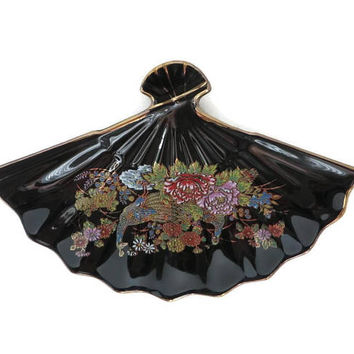 Vintage Chinese Fan Dish, Black Lacquer Gold Trimmed Fluted Candy Dish
