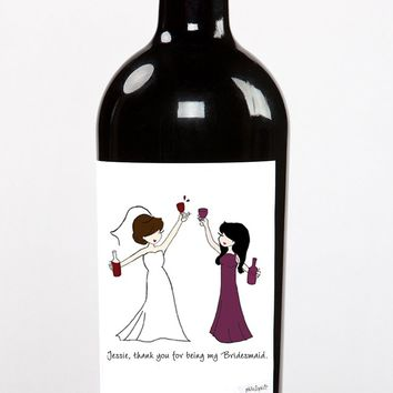 Party Time Wine Bridesmaid Label
