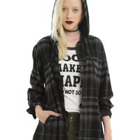 Black & Grey Plaid Hooded Girls Woven