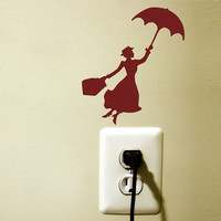 Mary Poppins - Velvet Wall Decal Sticker- Children Wall Decor - Free Shipping!