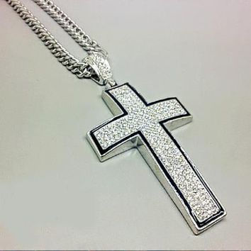Fashion Hip Hop Versace Cross Necklace