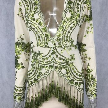 Streetstyle  Casual Green Patchwork Sequin Plunging Neckline Polyester Mini Dress