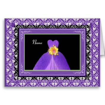 NAME Bridesmaid Invite PURPLE Gown & Lace  Trim Greeting Cards