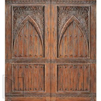 Moroccan Style Hand Carved Mahogany Prehung Double Door