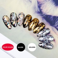 Fashion fake nails golden silver and color golden press on black nail tips for party  Star series 24PCs