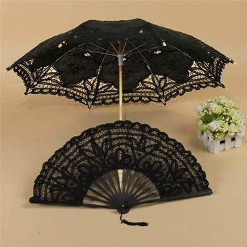 Umbrella/Fan Fancy Retro Style Lace Handmade Hand Fan Parasol Umbrella Wedding Bridal Party Decorative Craft Supplies