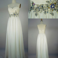 Strapless Sweetheart with Beading Chiffon Long Ivory Prom Dress Bridesmaid Dress