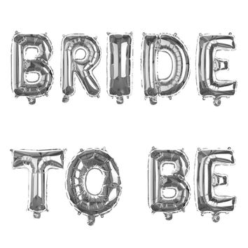 BRIDE TO BE Non-Floating Letter Balloons - 13 Inch Silver