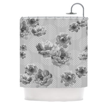 "Pellerina Design ""Lace Peony in Gray"" Grey Floral Shower Curtain"