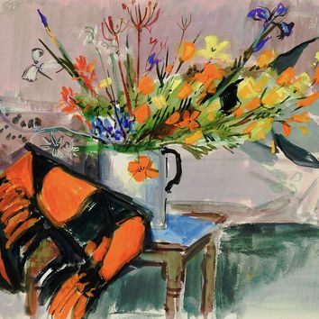 Modernist Floral Still Life Watercolor Painting
